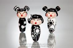 Little Geisha Dolls. Wearable Doll Beads. Glass art by Dora Schubert.