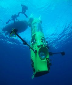 "James Cameron solo dives in THE DEEPSEA CHALLENGER to the ocean's deepest point - joining exploration ""firsts"" in world history. http://deepseachallenge.com/"