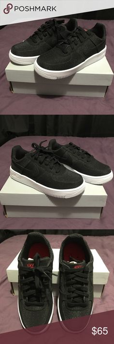 Brand New Nike Air Force One Black Glitter 6.5 Brand New! Never Worn! Unique Nike Air Force One Ultra Force Black Glitter Size Womens 6.5 or Size 4 Youth boys! Retails 100$ (Unless you request otherwise these will be shipped without box)  No Trades! No Merc! Nike Shoes Sneakers