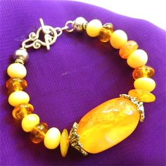 Artisan Bracelet Butterscotch Egg Yolk and Turtle Shell Colored Amber Beads