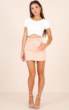 Showpo Cinnamon Girl denim skirt in blush - 10 (M) Skirts
