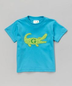 Look at this #zulilyfind! Turquoise Crocodile Initial Tee - Toddler & Boys #zulilyfinds