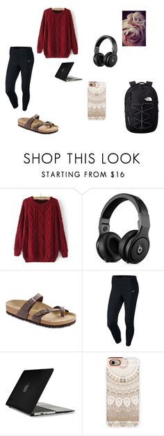 """Late Night at the Studio"" by eliz4599 ❤ liked on Polyvore featuring Birkenstock, NIKE, Speck, Casetify and The North Face"