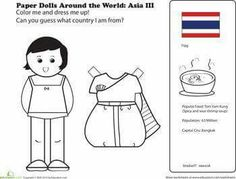 First Grade Paper Dolls Community & Cultures Worksheets: Paper Dolls Around the World: Thailand Around The World Theme, Kids Around The World, Around The Worlds, Coloring For Kids, Coloring Pages, Passport Template, Thailand Flag, Little Passports, World Thinking Day