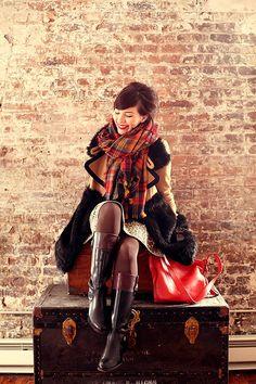 Red Orange Raw Edge Trims Plaid Shawl Long Scarf par boutiqueforyou