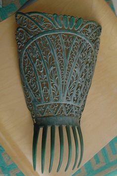 "Large Antique Carved Spanish Peineta Mantilla Green Bakelite Hair Comb 12"" | eBay"