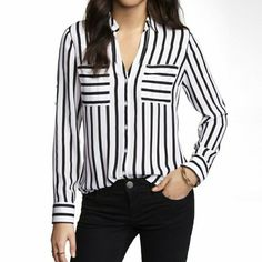Express Black & White Top Express Black & White  Portofino Shirt.  Excellent condition!  No trades!  All reasonable offers accepted! Express Tops Button Down Shirts