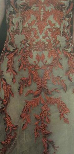 Red floral embroidery