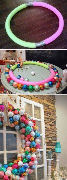 10 Exciting Christmas Decorations Created From Pool Noodles - Amazing DIY, Interior & Home Design Christmas Front Doors, Christmas Wreaths To Make, Christmas Hacks, Christmas Projects, All Things Christmas, Holiday Crafts, Holiday Fun, Redneck Christmas, Outdoor Christmas