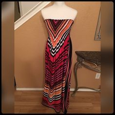 ✨Colorful Strapless Sundress✨ NWOT- Gorgeous for any occasion. If your a large it will fit.✨ Bailey Blue Dresses Strapless