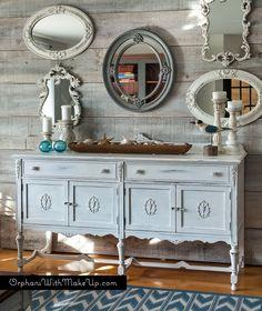 Love this sideboard makeover! Sturbridge White - Homestead House Milk Paint Milk Paint Furniture, Furniture Projects, Furniture Makeover, Painted Furniture, Diy Furniture, Weathered Furniture, Painted Sideboard, White Sideboard, Painted Buffet
