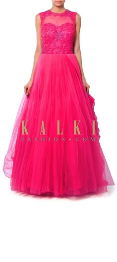 Buy Online from the link below. We ship worldwide (Free Shipping over US$100) Price-$529 Click Anywhere to Tag http://www.kalkifashion.com/pink-gown-adorn-in-french-knot-and-cowl-drape-only-on-kalki.html