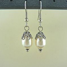 Swarovski Creme White Swarovski Pearl Earrings by Crystalyte925, $24.00