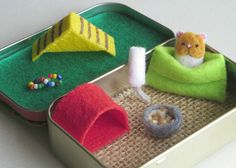 Hamster miniature felt plush in Altoid tin playset - snuggle bag ramp house play…