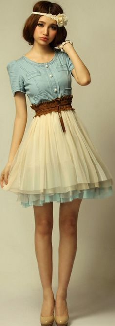 WOW, Sweet Dress - I usually don't like denim in dresses, but this is really cute!! :)