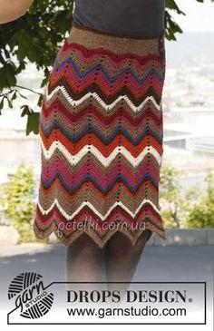Falda de ganchillo multicolor zigzaguea de gotas.  Patrón Descripción Knitting