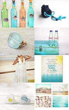Beach theme wedding. I like the top left photo with the sea glass bottles and the shells.