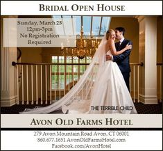 **BRIDAL OPEN HOUSE!!** Sunday, March 25th 12-3pm www.avonoldfarmshotel.com Old Farm, Open House, This Is Us, Sunday, March, Bridal, Wedding Dresses, Bride Gowns, Domingo
