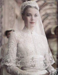 Grace Kelly in her wedding dress, 1956.