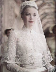 Grace Kelly in her wedding dress, 1956.