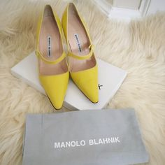 Pre Owned Auth Manolo Blahnik Campari Patent These are pre owned authentic Manolo Blahnik Campari Mary Jane Patent in yellow color. I was wearing them few times and they have been sitting in the closet since then. They are in good condition with sign of wear here and there (pls refer to the pictures, if you have problem with sign of wear on the shoes, pls do not bother to  buy these pair). Item comes with dustbag ONLY. Any Qs, just lmk.  PP/TRADE/LOW BALL. Thank you  Manolo Blahnik Shoes