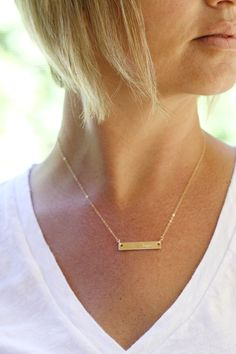 "Personalized our 14K Gold Filled Bar necklace with a name, location coordinates, or something sweet and simple like the word ""love"". The perfect gift for your bridal party or just about anyone... www.sarahcornwelljewelry.com gold bar necklace, gold bar jewelry, personalized gold necklace, bridal party gift, bridesmaid gifts, wedding, beach wedding, wedding gift"