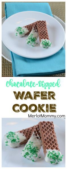Chocolate-Dipped Wafer Cookies for St. Patrick's Day