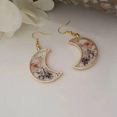8 Beautiful Handmade Jewelry Items From Etsy Moon Earrings, Flower Earrings, Beautiful Earrings, Women's Earrings, Moon Jewelry, Resin Jewelry, Earrings Handmade, Handmade Jewelry, Crystal Resin