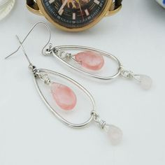 Extended Holiday Sale Rose Quartz Crystal Drop Earrings Crystal... ($14) ❤ liked on Polyvore featuring jewelry and earrings