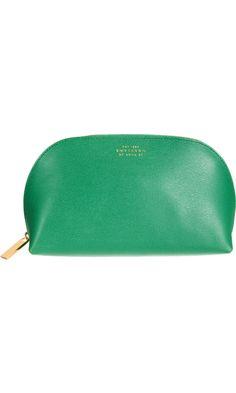 Classy kelly green. // Smythson Emily Cosmetics Case