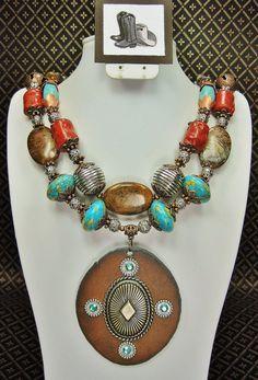 GYPSY BOHO TURQUOISE / Coral Chunky Statement Southwestern Cowgirl Necklace Set - GyPsY BoHo CHiC