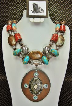 GYPSY BOHO TURQUOISE / Coral Chunky Statement Southwestern Cowgirl Necklace Set - GyPsY BoHo CHiC