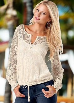 CREAM Lace drawstring top from VENUS