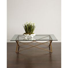 John-Richard Collection Renzo Coffee Table ($1,999) ❤ liked on Polyvore featuring home, furniture, tables, accent tables, gold, glass top coffee table, gold accent table, hand made furniture, glass top accent table and john richard furniture