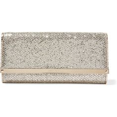 Jimmy Choo Milla glittered canvas clutch ($425) ❤ liked on Polyvore featuring bags, handbags, clutches, gold, cell phone purse, canvas handbags, strap purse, glitter clutches and jimmy choo handbags