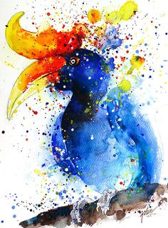 Hornbill 1  watercolor painting  A4  8.3 x 11.7 by TilenTiArtist, $28.00