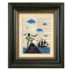 Peter Pan print on a bookpage. kids room decor.