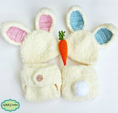 Crochet Newborn Easter Bunny Hat and Diaper Cover Outfit, Boy and Girl Twin Crochet Pattern by AMKCrochet.com