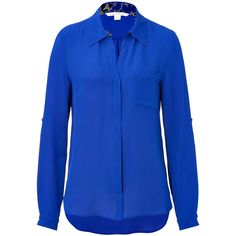 Diane von Furstenberg - Silk Blouse in Cobalt with Star Lining Detail ($178) ❤ liked on Polyvore featuring tops, blouses, blue, women, loose long sleeve shirts, blue shirt, silk shirt, silk blouses and blue long sleeve shirt