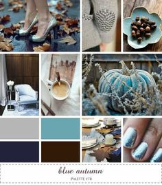inspiration board - blue autumn #blue #gray #brown
