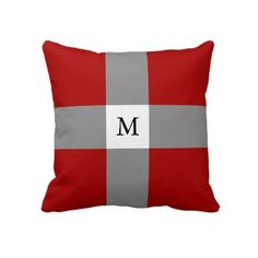 #Red #Grey #Cross #Monogram #Throw #Pillow or #Cushion. #Customizeable - Add your own initials, more colors available. http://www.zazzle.com/red_grey_white_cross_monogram_throw_pillow-189413622091319386?rf=238213022379565456