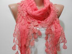 Salmon Pink Lace Scarf Shawl Peach CowlScarf with by MiracleShine, $13.00