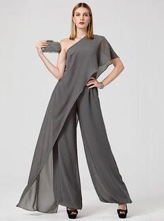 Mono Un Hombro Hasta el Suelo Raso Evento Formal Vestido con Recogido por TS Couture® 2019 - Mex $2428.08