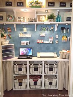 Awesome 48 Beautiful Diy Craft Room Ideas For Small Spaces. More at trendecorist… Sewing Room Organization, Craft Room Storage, Organization Ideas, Pegboard Storage, Painted Pegboard, Craft Room Shelves, Pegboard Craft Room, Storage Ideas, Closet Craft Rooms