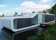 Contemporary houseboat in Amsterdam on the Amstel