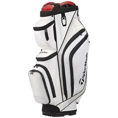 TaylorMade Supreme Cart Golf Bag White: A durable construction ensures no wearing or tearing when using cart straps. Has a large internal insulated cooler pocket, and extra soft, durable bubble lining. Disc Golf Scene, Golf Swing Analyzer, Golf Bags For Sale, Ladies Golf Bags, Golf Instructors, Golf Stores, New Golf, Cheap Bags, Play Golf
