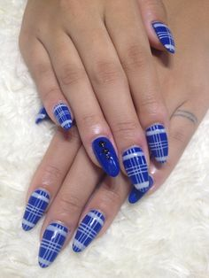 Blue and White plaid nails