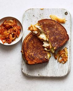 Roast chicken, cheese and kimchee toastie Roast Chicken, How To Cook Chicken, Health Food Shops, Kimchi Recipe, Leftover Chicken Recipes, 15 Minute Meals, Delicious Magazine, Supper Club, Savory Snacks