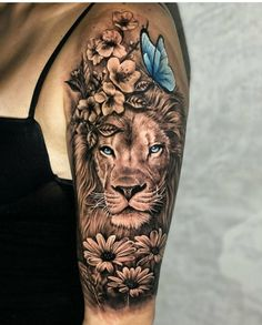 Animal Tattoos For Women, Dope Tattoos For Women, Leg Tattoos Women, Shoulder Tattoos For Women, Lion Shoulder Tattoo, Back Shoulder Tattoos, Amazing Tattoos For Women, Cute Animal Tattoos, Awesome Tattoos