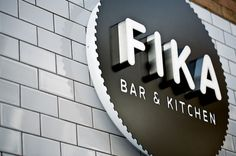 Exterior signage created by Designers Anonymous for Brick Lane bar and kitchen Fika. Wayfinding Signage, Signage Design, Branding Design, Signage Board, Design Corporativo, Tool Design, Restaurant Signage, Restaurant Design, Restaurant Exterior